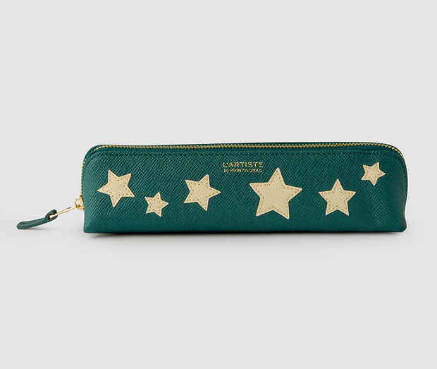 Pencil Case - Bluegreen with Beige stars
